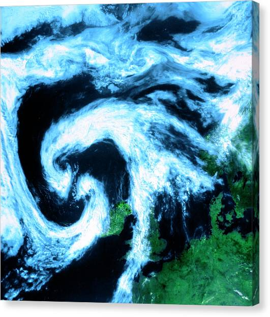 Cyclones Canvas Print - Twin Cloud Swirls Near Depression North West Europe by University Of Dundee/science Photo Library