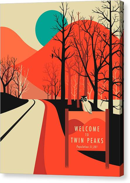 Peaks Canvas Print - Twin Peaks Travel Poster by Jazzberry Blue