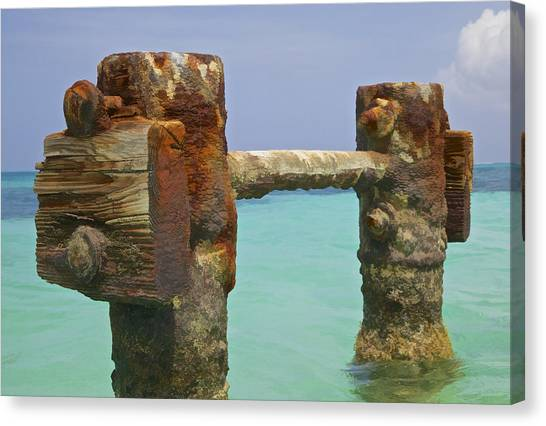 Twin Rusted Dock Piers Of The Caribbean Canvas Print