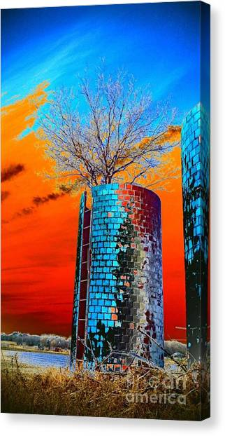 Twin Silos Canvas Print