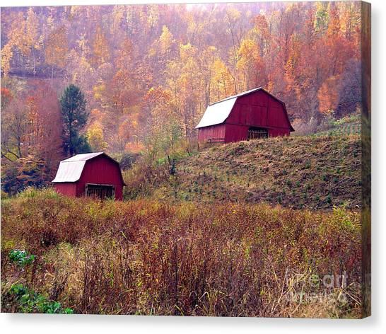 Twin Tobacco Barns Canvas Print