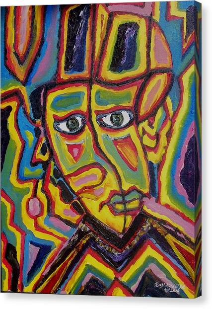 Canvas Print featuring the painting Twisted Head Of A Contessa by Ray Khalife