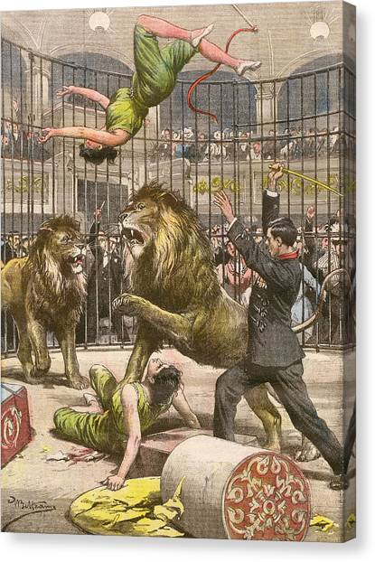 Two Acrobats Fall Into The  Lions' Canvas Print by Mary Evans Picture Library