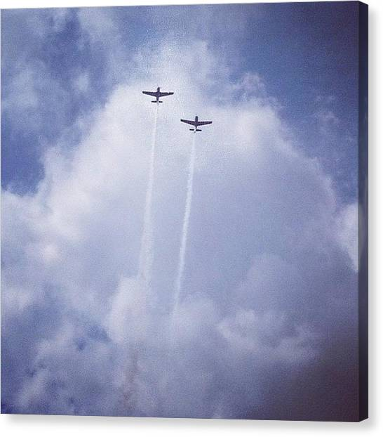 Sky Canvas Print - Two Airplanes Flying by Christy Beckwith
