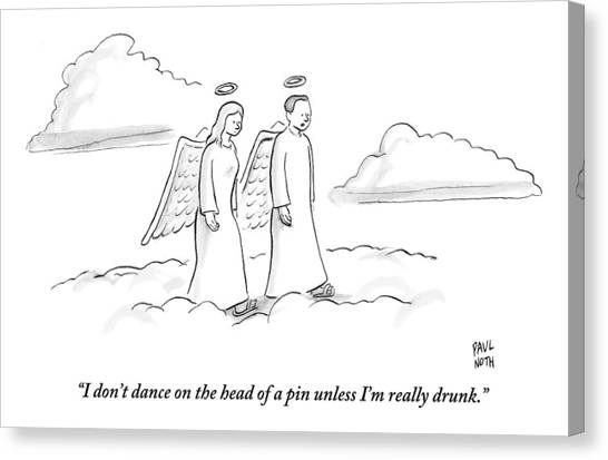 Drunk Canvas Print - Two Angels Walking In Heaven Having by Paul Noth