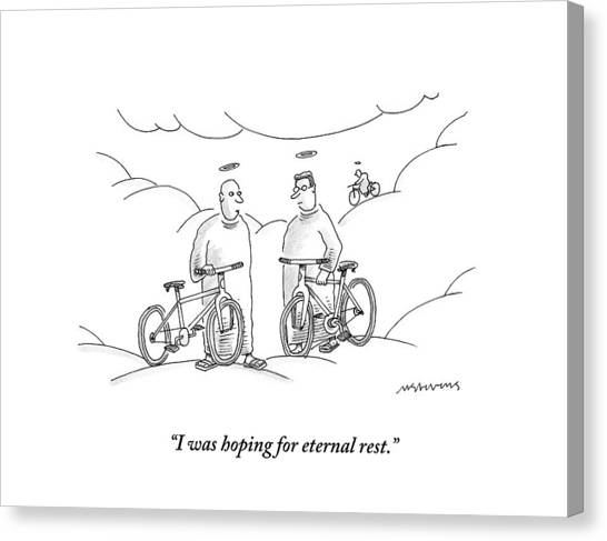 Bicycle Canvas Print - Two Angels With Bicycles Converse. Another Angel by Mick Stevens