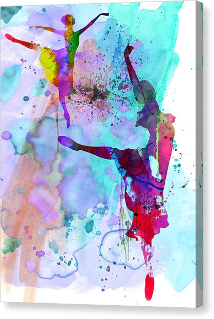 Vogue Canvas Print - Two Ballerinas Watercolor 4 by Naxart Studio