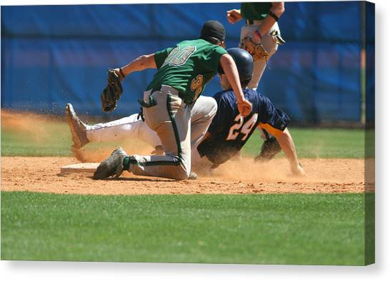Two Baseball Players Playing A Game Of Baseball Canvas Print by RBFried