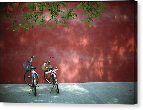 China Town Canvas Print - Two Bicycles In Hutong by Setsuna