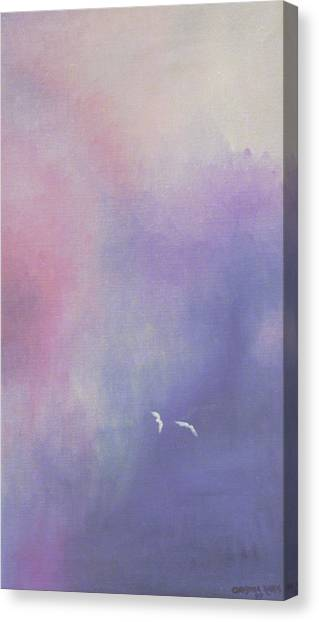Two Birds Flying In Ravine. Canvas Print by Christina Rahm Galanis