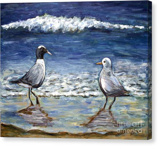 Two Birds With Foam Canvas Print