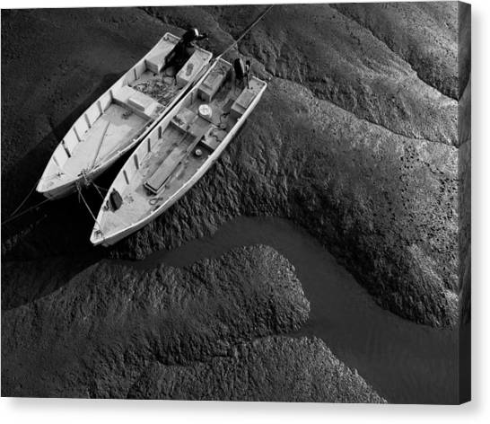 Two Boats At Low Tide Canvas Print