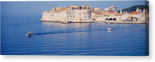 House Of Worship Canvas Print - Two Boats In The Sea, Dubrovnik, Croatia by Panoramic Images