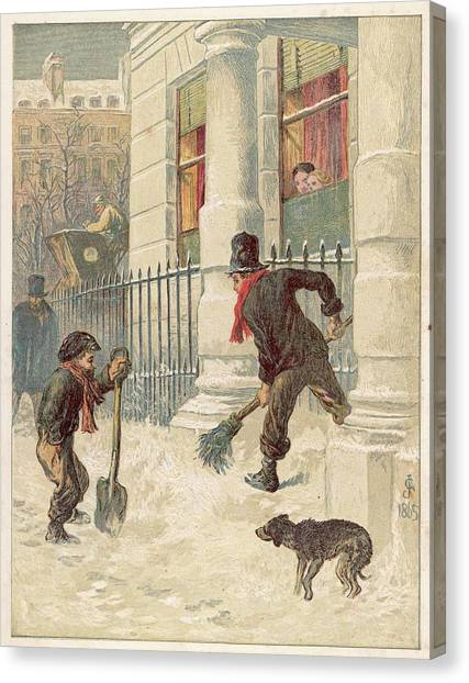 9b01276b5 Mary Christmas Canvas Print - Two Boys Sweep The Snow by Mary Evans Picture  Library