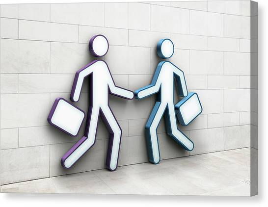 Two Businessmen Shaking Hands Canvas Print by Jorg Greuel