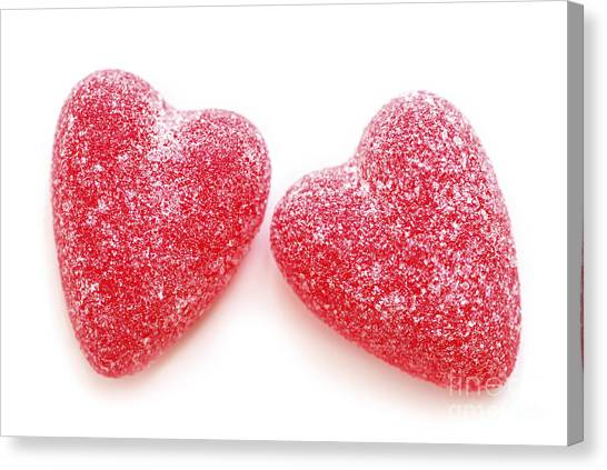 Passionate Canvas Print - Two Candy Hearts by Elena Elisseeva