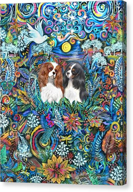 Two Cavaliers In A Garden Canvas Print