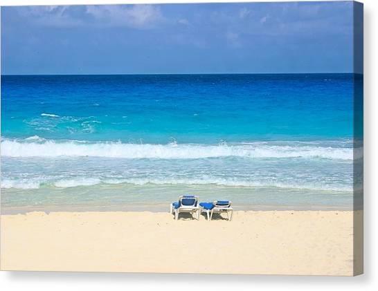Two Chairs On Cancun Beach Canvas Print