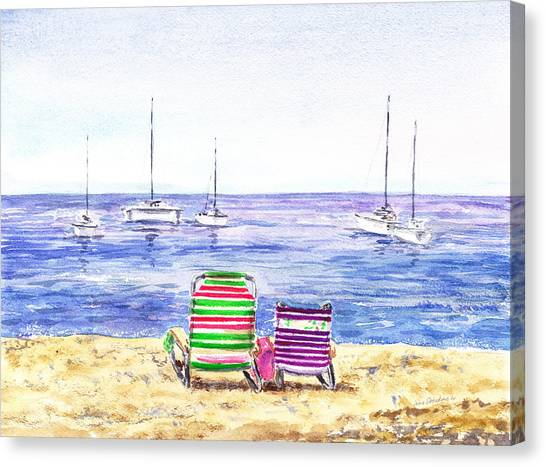 Irina Canvas Print - Two Chairs On The Beach by Irina Sztukowski