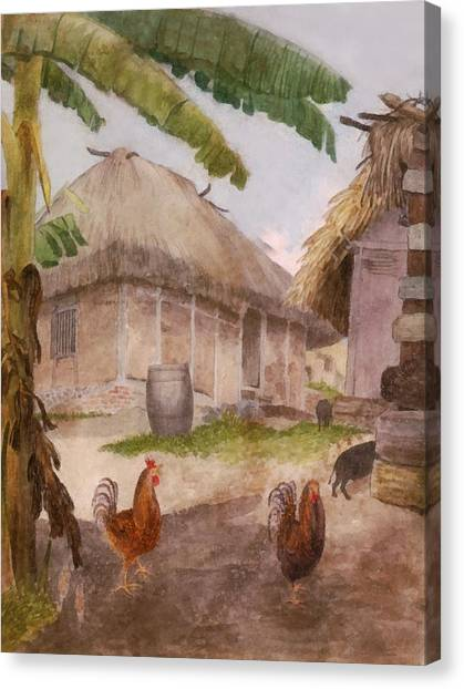 Rain Barrel Canvas Print - Two Chickens Two Pigs And Huts Jamaica by William Berryman