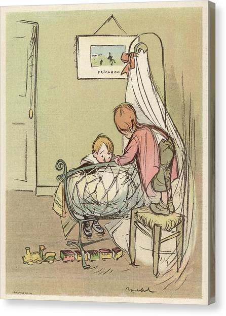 New Baby Canvas Print - Two Children Admire The New  Baby by Mary Evans Picture Library