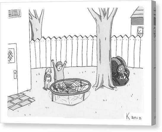 Trampoline Canvas Print - Two Children Excitedly Look At A Web Disguised by Zachary Kanin