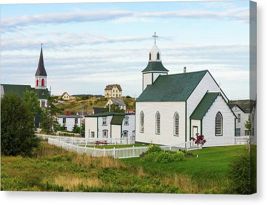 Newfoundland And Labrador Canvas Print - Two Churches In Town Of Trinity by Panoramic Images
