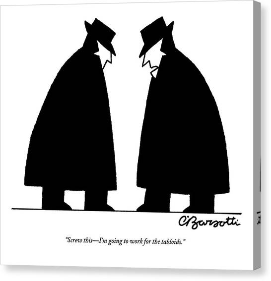 Cia Canvas Print - Two Cia Agents Discuss Career Changes In Light by Charles Barsotti