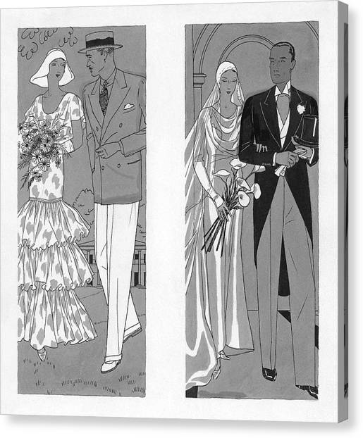 Flannel Canvas Print - Two Couples Getting Married by Pierre Mourgue