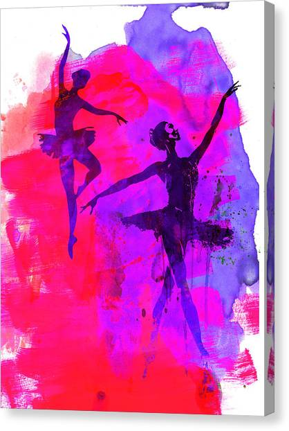 Vogue Canvas Print - Two Dancing Ballerinas 3 by Naxart Studio