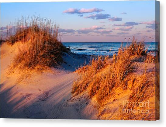 Two Dunes At Sunset - Outer Banks Canvas Print