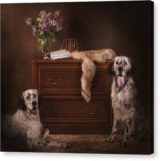 Canvas Print - Two English Setters... by Tanya Kozlovsky