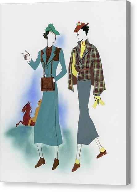 Two Fashionable Women Walking In Park Canvas Print by Raymond de Lavererie
