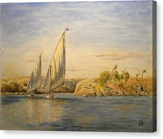 Egyptian Canvas Print - Two Feluccas by Juan  Bosco