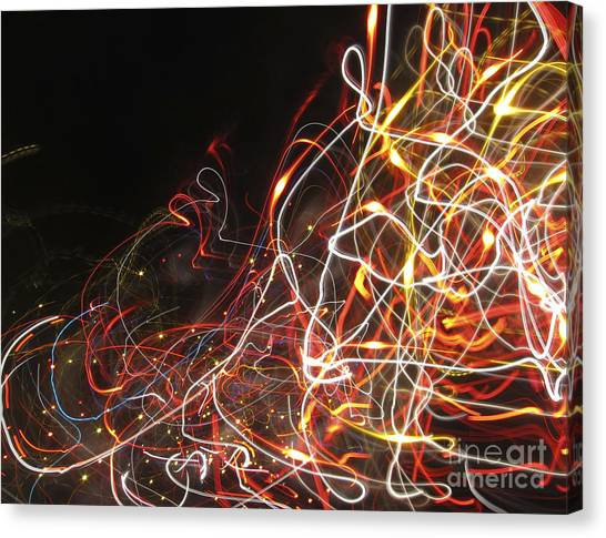 Two Fire Trucks Roar Through An Intersection Canvas Print