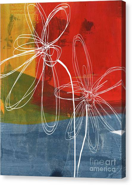 Health Care Canvas Print - Two Flowers by Linda Woods