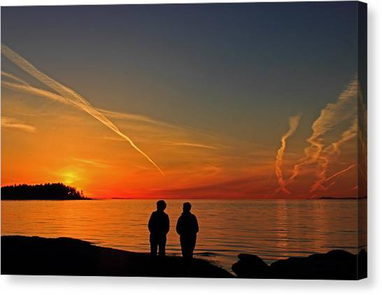 Two Friends Enjoying A Sunset Canvas Print