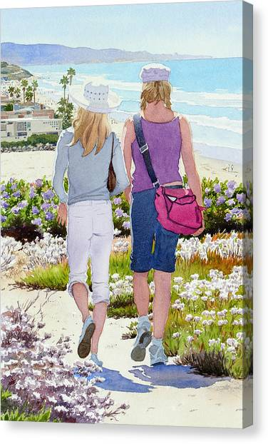 Mars Canvas Print - Two Girls At Dog Beach Del Mar by Mary Helmreich