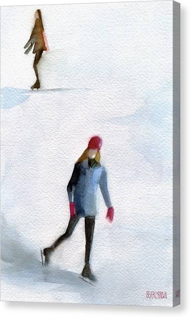 Ice Skating Canvas Print - Two Girls Ice Skating Watercolor Painting by Beverly Brown Prints