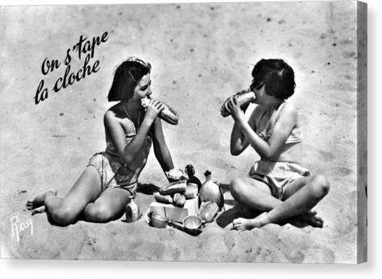 Stuffing Canvas Print - Two Girls On A Beach Have  Brought by Mary Evans Picture Library