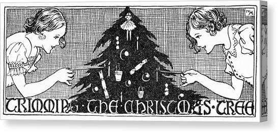 8d35d5ed0 Mary Christmas Canvas Print - Two Girls Trim The Tree With Ornaments by Mary  Evans Picture