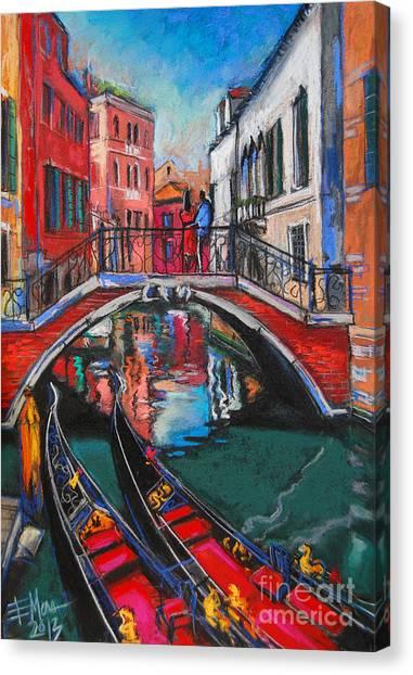 Promenade Canvas Print - Two Gondolas In Venice by Mona Edulesco