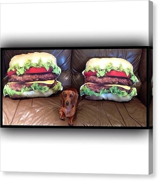 Hamburger Canvas Print - Two Hamburgers, One Hot Dog! #cushions by Avril O