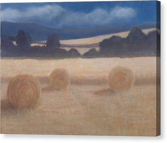 Hay Bales Canvas Print - Two Hay Bales, 2012 Acrylic On Canvas by Lincoln Seligman