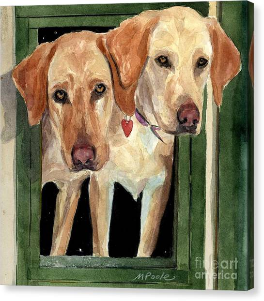 Yellow Lab Canvas Print - Two Hearts by Molly Poole