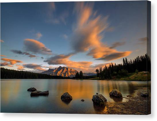 Lake Sunsets Canvas Print - Two Jack Lake Sunset by Hua Zhu