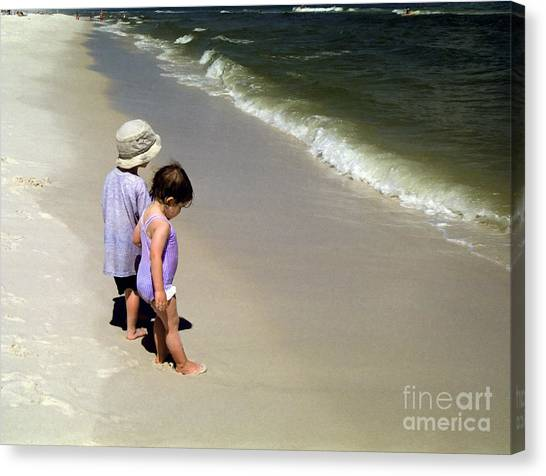 Two Kids At The Beach Canvas Print