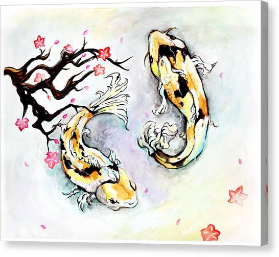 Two Kois Canvas Print by Miguel Karlo Dominado