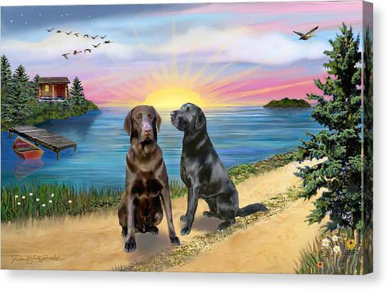 Two Labs At The Lake Canvas Print