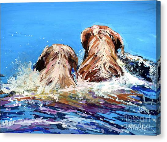 Yellow Labrador Canvas Print - Two Labs One Wake by Molly Poole